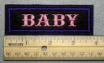 1035 L - BABY - Embroidery Patch - Purple Border Pink Letters