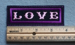 1081 L - Love Embroidery Patch - Purple Border Pink Letters