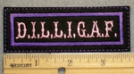 1491 L - DILLIGAF - Pink Lettering - Purple Border - Embroidery Patch