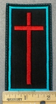 1541 L - Red Cross With Blue Border - Embroidery Patch