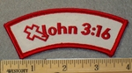 1863 G - John 3:16 - Red - White background - Embroidery Patch