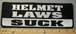 1848 L - Helmet Laws Suck - Back Patch - Embroidery Patch