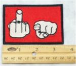 524 N - FUCK YOU - MIDDLE FINGER POINTING - EMBROIDERY PATCH