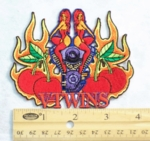 195 N - V-TWINS REDHEADS FLAMING ENGINE CHERRY - EMBROIDERY PATCH