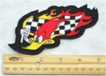 221 N - RACING BIRD WITH CHECKERED FLAG - EMBROIDERY PATCH