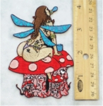 227 N - ENCHANTED FAIRY AND MUSHROOM - EMBROIDERY PATCH