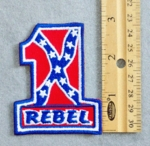 264 N - Number One Confederate Flag With Rebel - Embroidery Patch