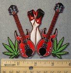 1535 N - Double Standing Guitars - Pot Leaves - Pair of Ladies Legs In Air - Embroidery Patch