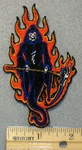 1532 N - Grim Reaper In Flames - Embroidery Patch