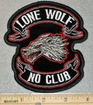 1871 G - Lone Wolf No Club - Embroidery Patch