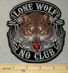 1872 G - Lone Wolf No Club 5 Inch - Embroidery Patch