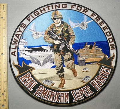 2075 W - Always Fighting For Freedom - Large Round Back Patch - Embroidery Patch