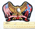 680 G - American Flag - Confederate Flag On Eagles Wings - American By Birth - Rebel By Choice Banner - Embroidery Patch