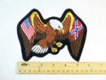 586 R - American Flag - Confederate Flag Within Eagles Wings - Embroidery Patch