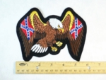 582 R - Confederate Flags Within Bald Eagles Wings - Embroidery Patch