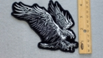 253 N - DIVING FIREY EAGLE - EMBROIDERY PATCH - BLACK AND WHITE