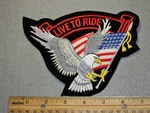 1514 B - Live to Ride - Flowing Flag - Eagle - Embroidery Patch