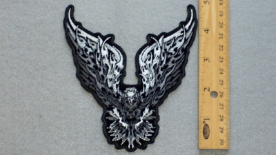 252 G  - FIREY EAGLE - EMBROIDERY PATCH - BLACK AND WHITE