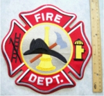 634 R LARGE FIRE DEPARTMENT BACK PATCH - Embroidery Patch