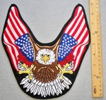 639 S - Eagle With American Flag Wings - Back Patch - Embroidery patch