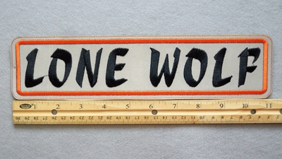 273 L - LONE WOLF -  HIGHLY REFLECTIVE PATCH - ORANGE AND BLACK - Embroidery Patch