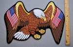 644 R - LARGE EAGLE WITH USA FLAG WINGS PATCH - FREE SHIPPING!
