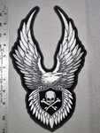 1821 G - Silver Eagle With Spread Wings - Large Back Patch - Embroidery Patch