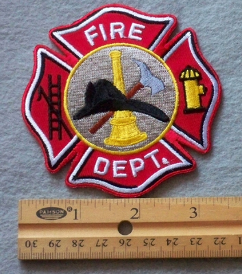 859 R - duplicate Fire Dept. Embroidered Patch