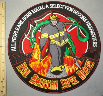 2076 W - American Super Heroes - Firefighter - Large Round Back Patch - Embroidery Patch