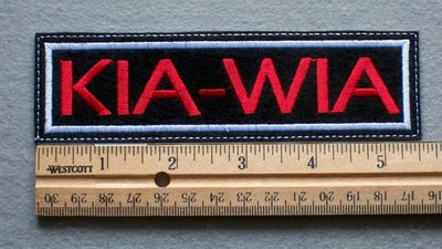 1091 L - KIA - WIA Embroidery Patch - White Border Red Letters