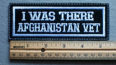 1085 L - I Was There Afghanistan Vet Embroidery Patch - White Border White Letters