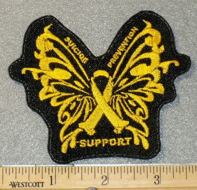 1849 L - Suicide Prevention Butterfly Ribbon - Embroidery Patch