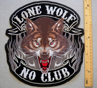 617 G - Lone Wolf  - No Club - Front Face Of Wolf - Back Patch - Embroidery Patch