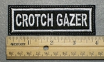 1038 L - CROCH GAZER - Embroidery Patch - White Border White Letters