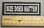 1122 L - SIZE DOES MATTER - Embroidery Patch - White Border White Letters