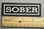 1123 L - SOBER - Embroidery Patch - White Border White Letters