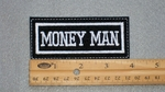 138 L - MONEY MAN - EMBROIDERY PATCH - WHITE
