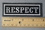 994 L - Respect Embroidery Patch - White Border White Letters