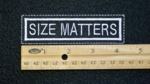 102 L - SIZE MATTERS - EMBROIDERY PATCH - WHITE