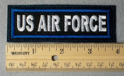 966 L - US Air Force Embroidery Patch - Blue Border White Letters - Embroidery Patch