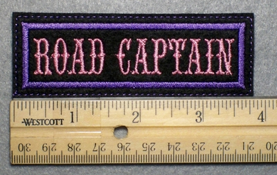 1025 L - ROAD CAPTAIN - Embroidery Patch - Purple Border Pink Letters