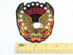8 N - LIVE TO RIDE FIRE EAGLE WITH STARS - EMBROIDERY PATCH