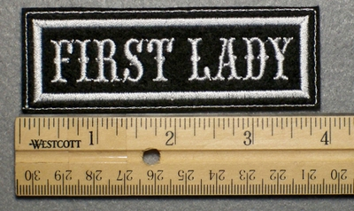 1018 L - FIRST LADY - Embroidery Patch - White Border White Letters