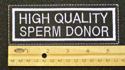 109 L - HIGH QUALITY SPERM DONOR LARGE - EMBROIDERY PATCH - WHITE