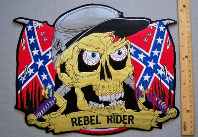 640 R - DISCONTINUED  Confederate Flag -  Rebel Rider Skull Face -  Back Patch - Embroidery Patch