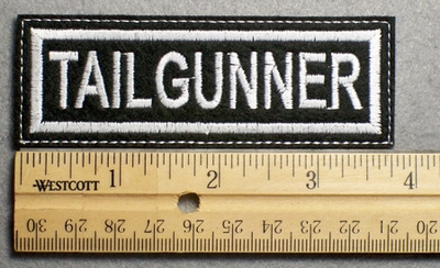 1106 L - TAILGUNNER - Embroidery Patch - White Border White Letters