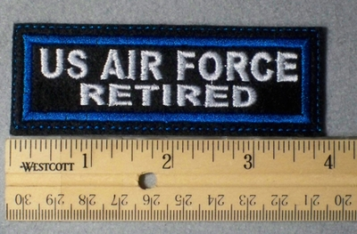 965 L - US Air Force Retired Embroidery Patch - Blue Border White Letters