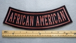 343 L -AFRICAN AMERICAN BOTTOM ROCKER - EMBROIDERY PATCH - BROWN - FREE SHIPPING!
