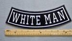 367 L -WHITE MAN BOTTOM ROCKER - EMBROIDERY PATCH - WHITE - FREE SHIPPING!