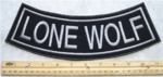 339 L -GRAY LONE WOLF BOTTOM ROCKER- EMBROIDERY PATCH